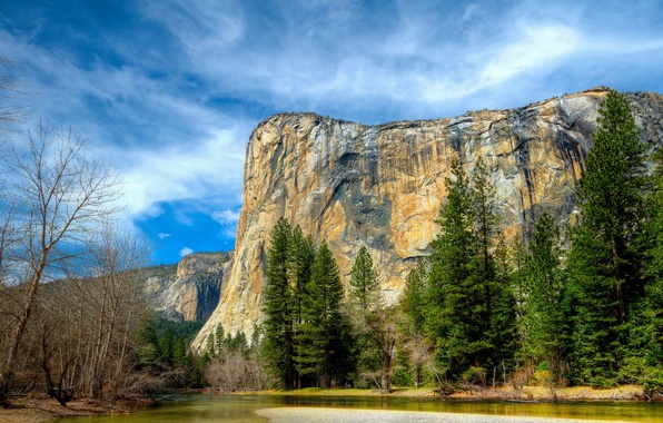 Картинка осень, лес, небо, облака, деревья, горы, природа, озеро, река, Yosemite, National Park, Sierra Nevada