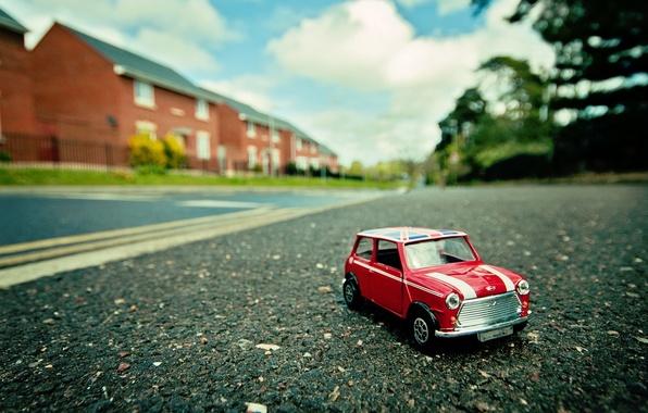 Картинка машина, макро, улица, игрушка