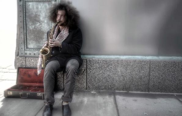 Картинка музыка, улица, музыкант, саксофон