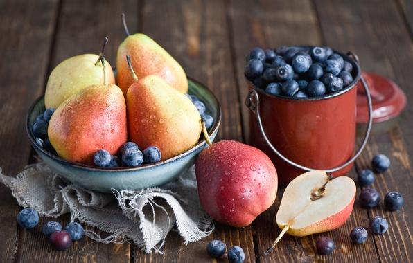 Картинка ягоды, черника, тарелка, посуда, фрукты, натюрморт, груши, Anna Verdina
