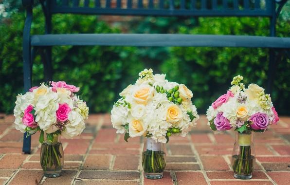Картинка цветы, розы, букет, вазы, свадебный