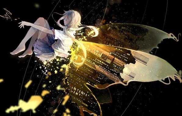 Картинка небо, девушка, ночь, город, огни, высота, крылья, аниме, арт, vocaloid, luo tianyi, bou shaku