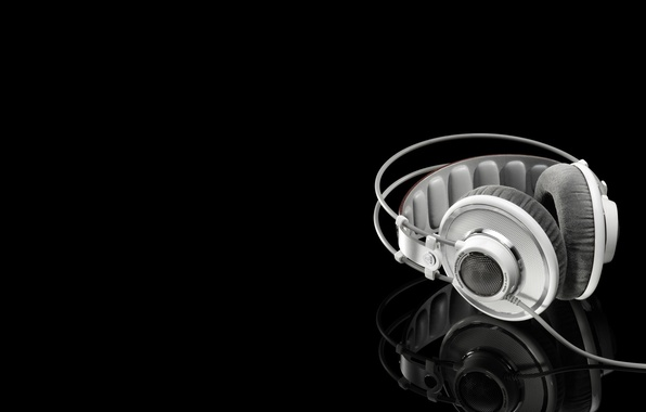 Фото обои отражение, white headphones, Белые наушники