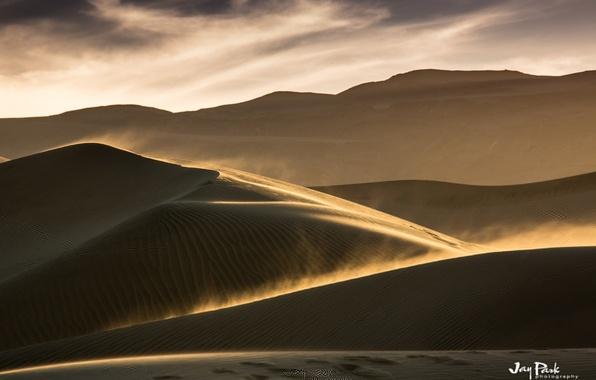 Картинка песок, небо, облака, пейзаж, барханы, ветер, пустыня, буря, пыль, дюны