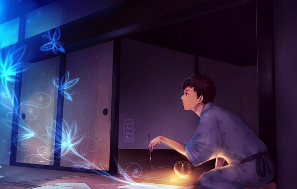 Картинка бабочки, цветы, фантазия, комната, свеча, арт, парень, кимоно, кисть, рисует, mezamero