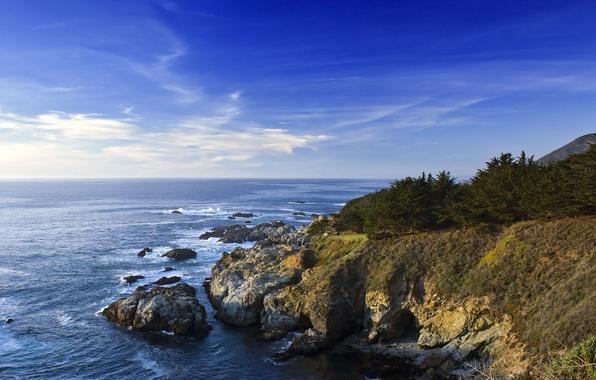 Картинка море, небо, вода, скалы, берег, Калифорния