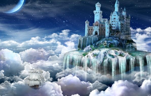 Картинка облака, замок, сказка, Ночь