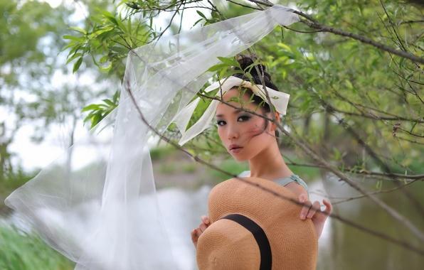 Картинка девушка, природа, шляпка