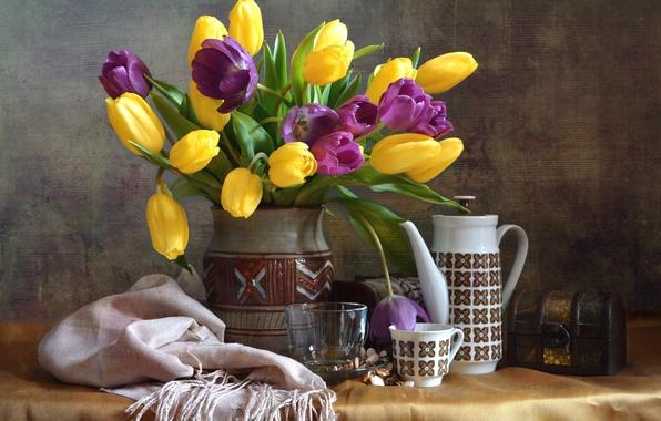 Картинка букет, тюльпаны, посуда, натюрморт, платок