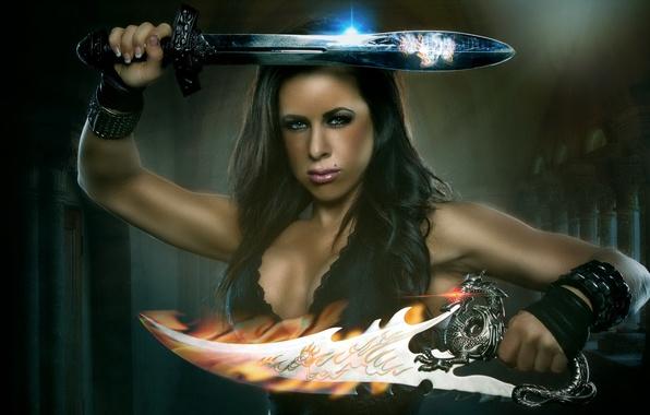 Картинка sword, fantasy, woman, athletic, barbarian, composite, Conan's Quest