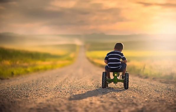 Картинка дорога, велосипед, мальчик, простор, ребёнок, боке