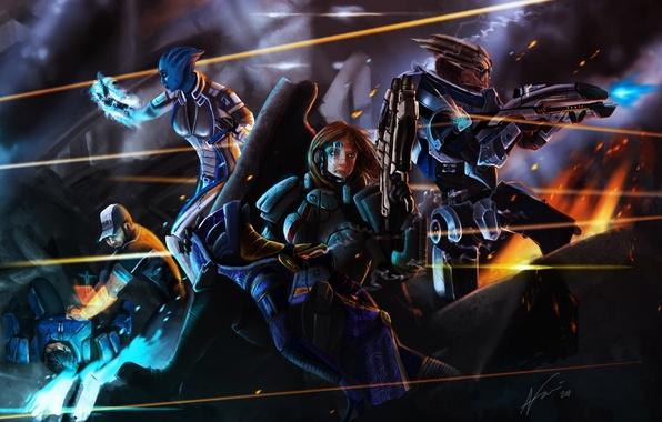 Картинка огонь, кровь, бой, Джокер, ранение, Mass Effect, выстрелы, Шепард, Лиара, Тали, Гаррус, art by Arkis