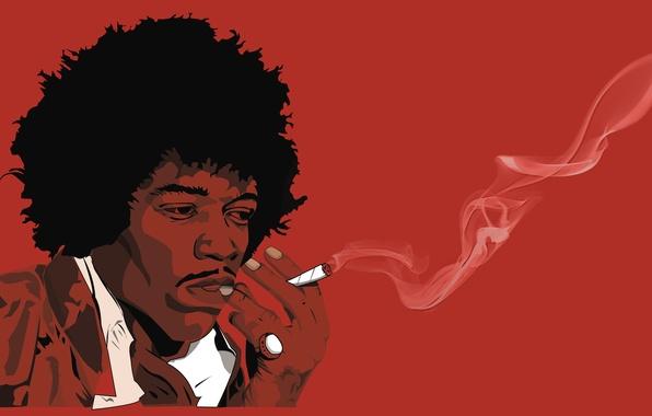 Картинка Гитарист, Jimi Hendrix, Черно-Красный
