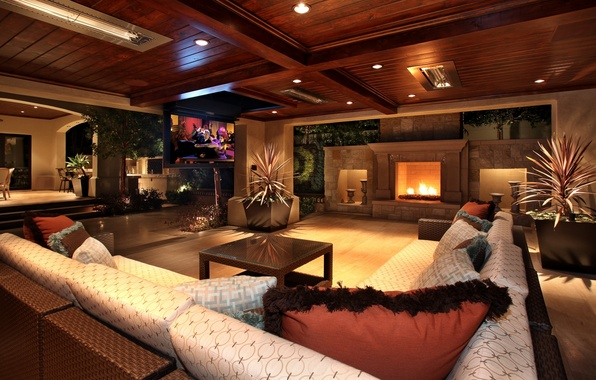 Картинка огни, диван, дерево, мебель, телевизор, камин, Интерьер, вазы