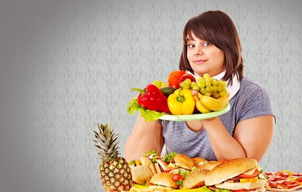 Картинка яблоко, виноград, бананы, перец, колбаса, Ананас
