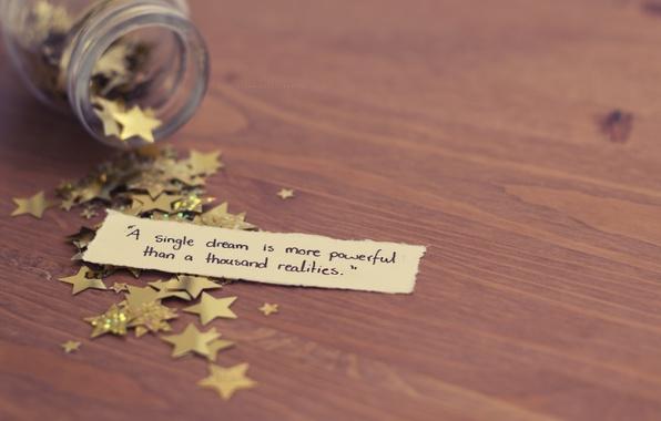 Картинка мечта, макро, стол, настроение, листок, звездочки, цитата, реальность, толкин