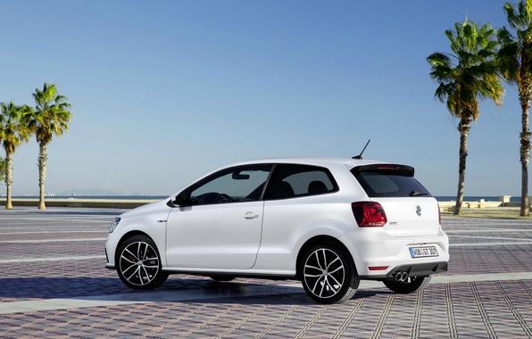 Картинка белый, фото, Volkswagen, автомобиль, сбоку, 2014, Polo GTI