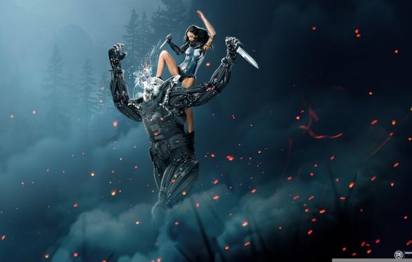 Картинка лес, дым, Девушка, искры, киборг, схватка, клинки, фотоманипуляция, art by MadSpike