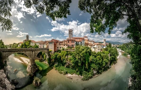 Картинка облака, деревья, пейзаж, ветки, мост, река, дома, Италия, Cividale