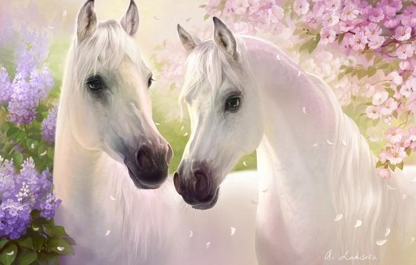 Картинка цветы, вишня, кони, весна, лепестки, арт, пара, белые, сирень