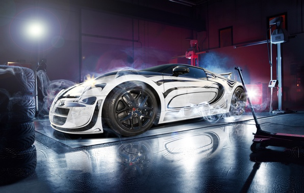 Картинка Bugatti, Veyron, White, Smoke, Super, Sport, Supercar, Garage, Blanc, Pur, Ligth