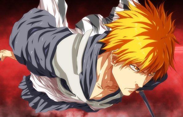 Картинка battlefield, sword, game, Bleach, anime, japanese clothes, katana, man, boy, fight, asian, Kurosaki Ichigo, manga, …