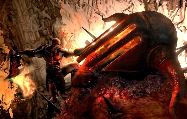 Картинка hate, fire, flame, sword, armor, Kratos, soul, PS3, God, armour, hell, rage, helmet, God of …