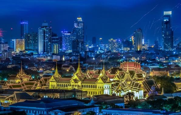 Картинка ночь, огни, праздник, дома, панорама, Thailand, фестиваль, Bangkok