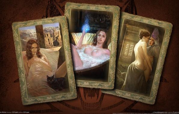 Картинка карты, девушки, ведьмак