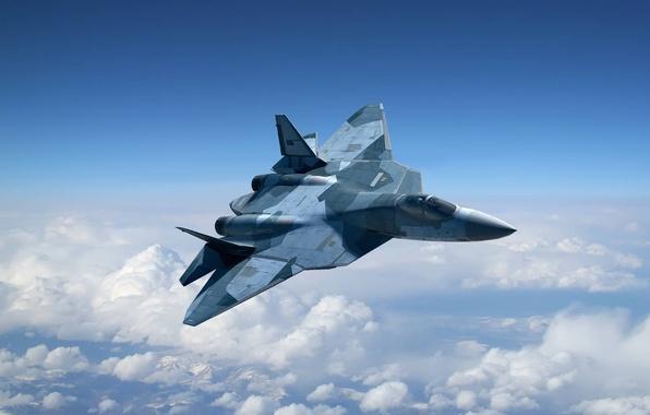 Картинка рисунок, Т-50, ПАК ФА, ОКБ Сухого, ВВС России, российский многоцелевой истребитель пятого поколения, И-21, Перспективный …