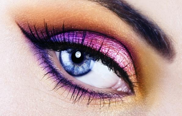 Картинка девушка, макро, глаз, макияж
