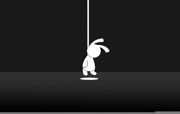 Картинка настроение, заяц, минимализм, верёвка