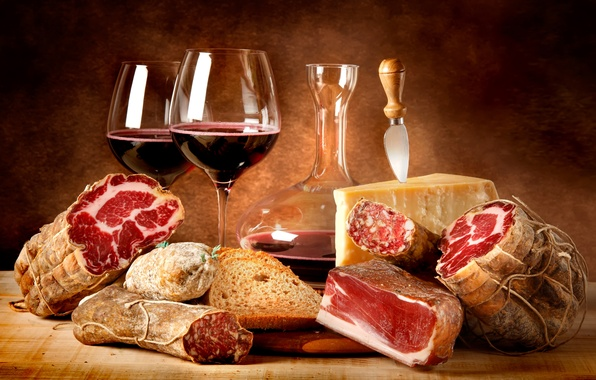 Картинка вино, красное, еда, сыр, бокалы, хлеб, мясо, red, колбаса, wine, cheese, cups, meat, декантер, пармезан, ...