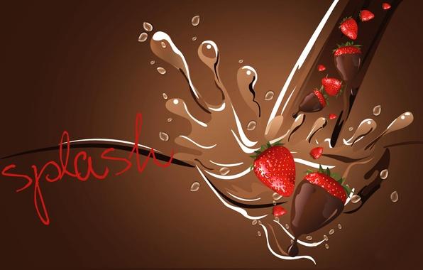Картинка брызги, шоколад, клубника, ягода, открытка, всалеск