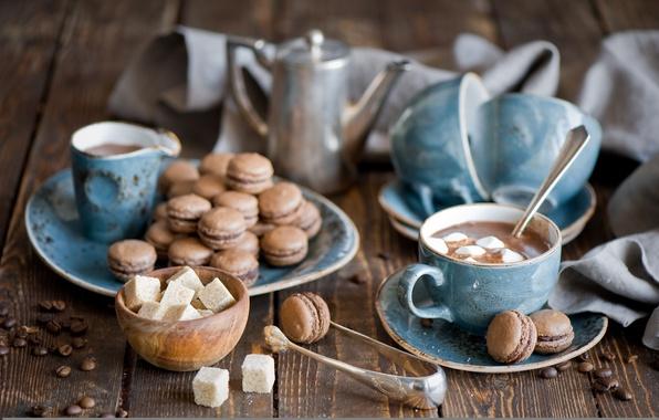 Картинка чайник, кружки, натюрморт, горячий шоколад, макарон, маршмеллоу, зёрна кофе