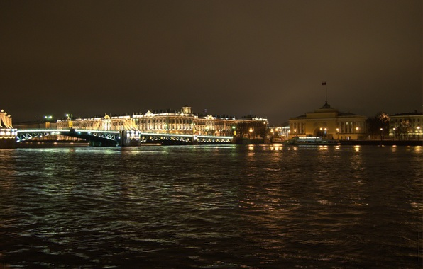 Картинка Мост, Ночь, Питер, Санкт-Петербург