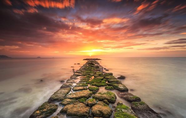 Картинка sea, sunset, stones, moss