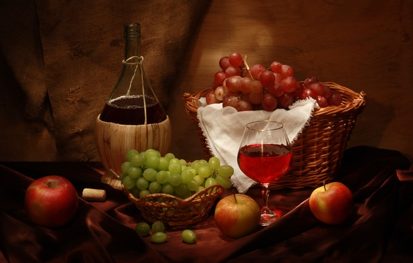 Картинка вино, корзина, яблоки, бокал, бутылка, виноград, пробка, натюрморт, wine