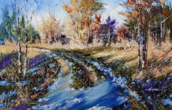 Картинка зима, осень, лес, небо, снег, деревья, пейзаж, природа, картина, лужи, живопись, Ходюков