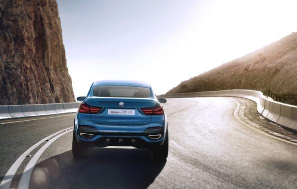 Картинка Concept, Авто, Синий, BMW, Бумер, Концепт, Свет, Асфальт, День, Джип, Автомобиль, Вид сзади, В движении