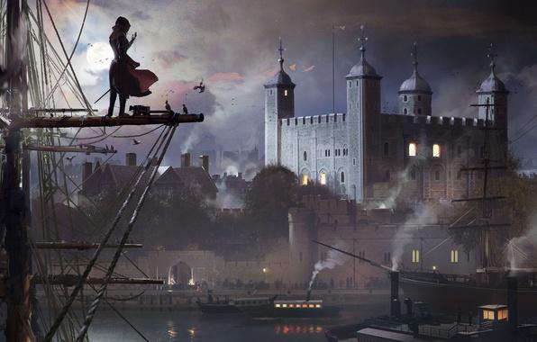 Картинка Небо, Вода, Облака, Девушка, Дым, Собор, Луна, Птицы, Корабль, Здания, Арт, Синдикат, Syndicate, Ubisoft Quebec, …