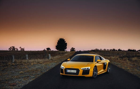 Картинка желтый, Audi, ауди, суперкар, supercar, sky, yellow, V10