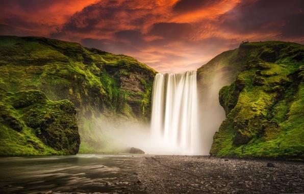 Картинка небо, закат, горы, природа, река, водопад, Исландия, Iceland, Skogafoss, Скогафосс
