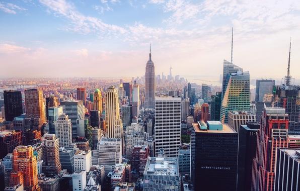 Картинка город, Нью-Йорк, США, Манхэттен, Эмпайр-стейт-билдинг, Рокфеллеровский центр