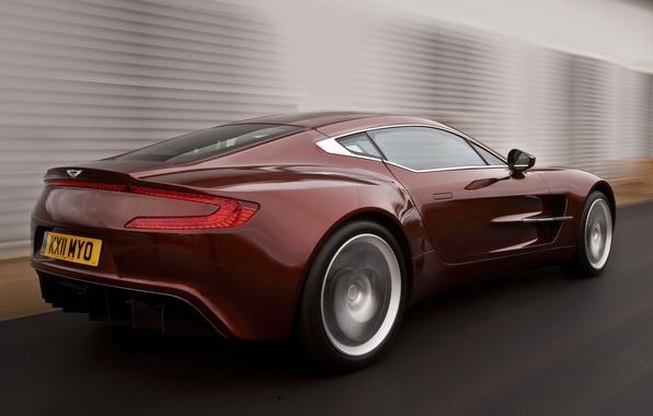 Картинка Aston Martin, Красный, Дорога, Машина, Движение, Машины, Red, Car, Автомобиль, Cars, Астон Мартин, Автомобили, One-77, …