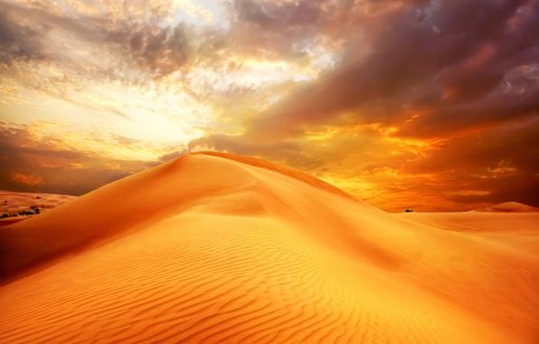 Картинка песок, небо, облака, пейзаж, природа, пустыня, дюны, восход солнца, sky, desert, landscape, nature, clouds, sand, …