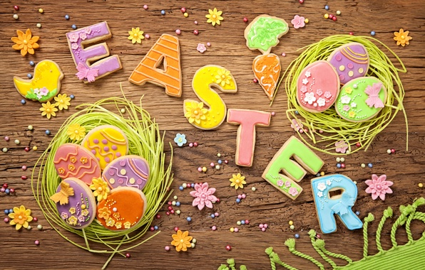 Картинка весна, colorful, печенье, пасха, wood, sweet, глазурь, spring, eggs, holiday, easter, cookies, decoration, letters, pastel