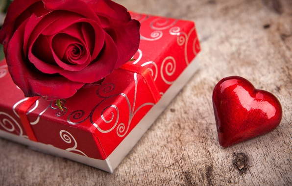 Картинка коробка, подарок, роза, love, rose, heart, flowers, romantic, Valentine's Day, gift