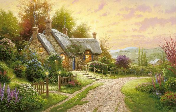 Картинка дорога, лето, цветы, картина, вечер, домик, живопись, коттедж, Thomas kinkade, кинкейд