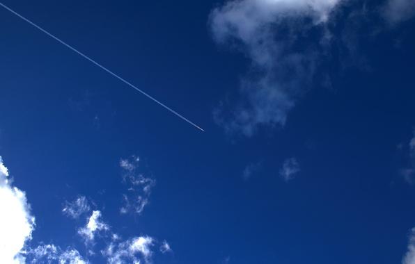 Картинка небо, облака, самолет, след, 154